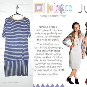 Lularoe Julia Blue/Yellow Striped Dress Size 2XL